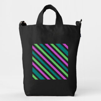 Teal, Lime Green, Hot Pink Glitter Striped Duck Canvas Bag