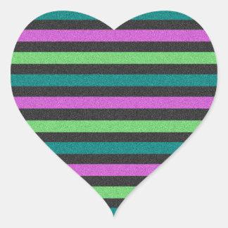 Teal, Lime Green, Hot Pink Glitter Striped Heart Sticker