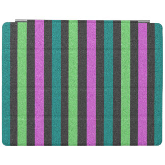 Teal Lime Green Hot Pink Glitter Striped iPad Cover