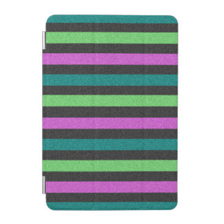 Teal Lime Green Hot Pink Glitter Striped iPad Mini Cover