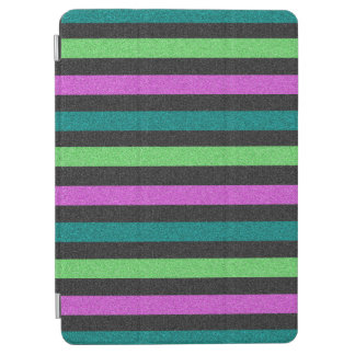 Teal Lime Green Hot Pink Glitter Striped iPad Air Cover