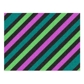 Teal, Lime Green, Hot Pink Glitter Striped Postcard