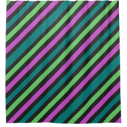 Teal Lime Green Hot Pink Glitter Striped Shower Curtain Zazzle