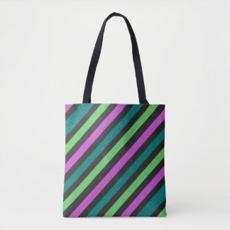 Teal, Lime Green, Hot Pink Glitter Striped Tote Bag