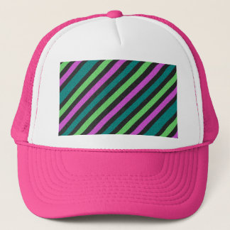 Teal, Lime Green, Hot Pink Glitter Striped Trucker Hat