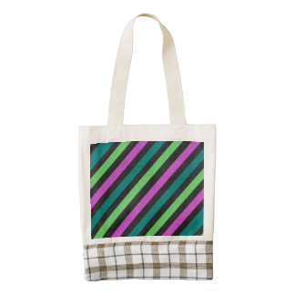 Teal, Lime Green, Hot Pink Glitter Striped Zazzle HEART Tote Bag