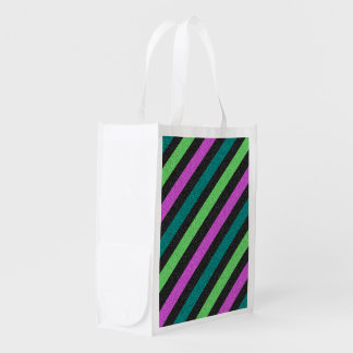 Teal, Lime Green, Hot Pink Glitter Stripes Reusable Grocery Bags