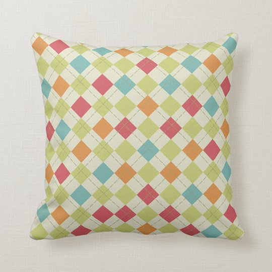 Red Green Throw Pillow : Teal, Lime Green, Red, Pink, Orange Argyle Throw Pillow Zazzle.com