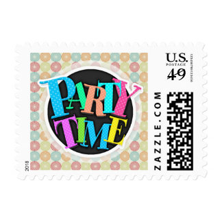Teal, Lime Green, Red, Pink, Orange Circles Postage Stamp