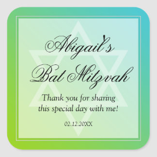 Teal Lime Green Star of David Bat Mitzvah Favor Square Sticker