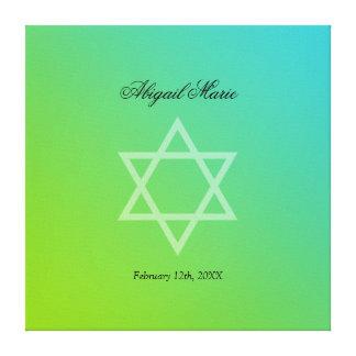 Teal Lime Green Star of David Bat Mitzvah Sign In
