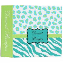 Teal Lime Green & White Zebra & Cheetah Skin Binder