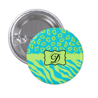 Teal & Lime Green Zebra & Cheetah Personalized Button