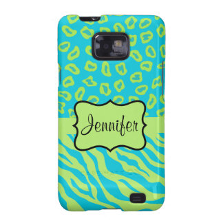 Teal & Lime Green Zebra & Cheetah Personalized Galaxy S2 Cases