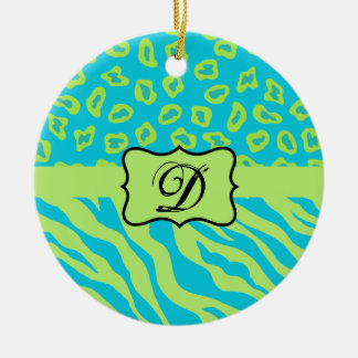 Teal & Lime Green Zebra & Cheetah Personalized Ceramic Ornament