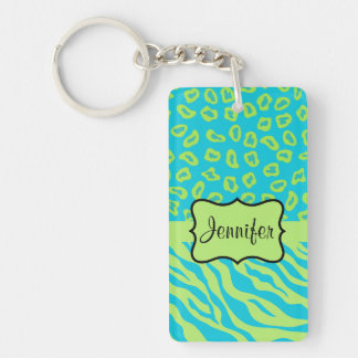 Teal & Lime Green Zebra & Cheetah Personalized Double-Sided Rectangular Acrylic Keychain