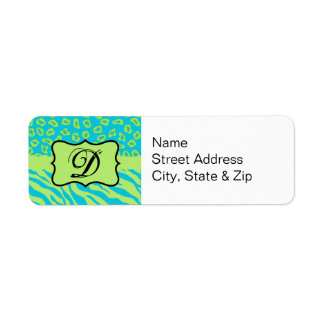 Teal & Lime Green Zebra & Cheetah Personalized Label