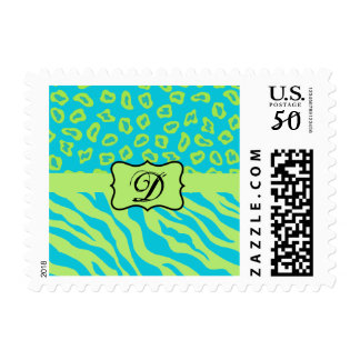 Teal & Lime Green Zebra & Cheetah Personalized Postage