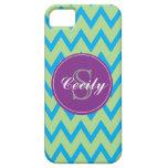 Teal, Lime, Purple Chevron Monogram iPhone5 case iPhone 5 Cover
