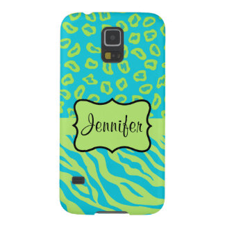 Teal Lime Zebra Leopard Skin Name Personalized Galaxy S5 Cases