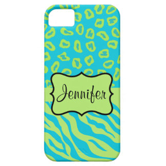 Teal Lime Zebra Leopard Skin Name Personalized iPhone SE/5/5s Case