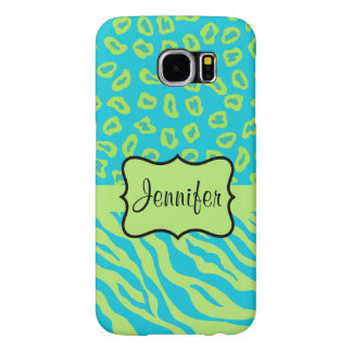 Teal Lime Zebra Leopard Skin Name Personalized Samsung Galaxy S6 Cases