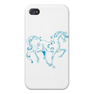 Teal Line Equine Case For iPhone 4