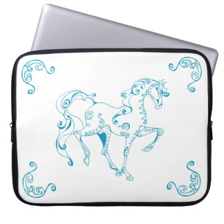 Teal Line Equine Laptop with Corners Hoofprints Computer Sleeve