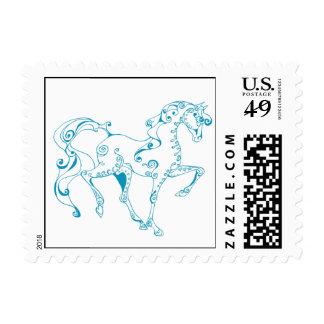 Teal Line Equine Postage Stamp