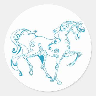 Teal Line Equine Round Sticker