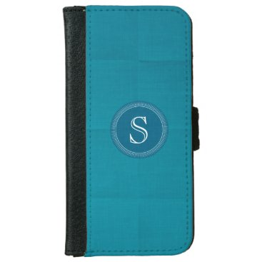 Teal Linen Custom Monogram Iphone 6 Wallet Case