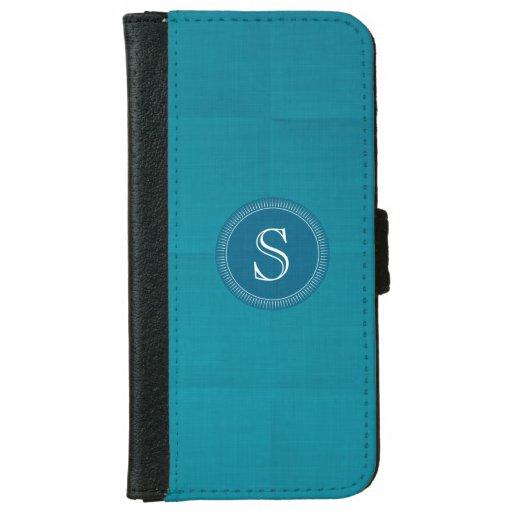 Teal Linen Custom Monogram Iphone 6 Wallet Case