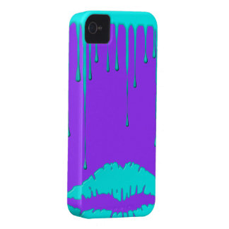 Teal Lips Drip Purple iPhone 4 4S Case-Mate Case-Mate iPod Touch Case
