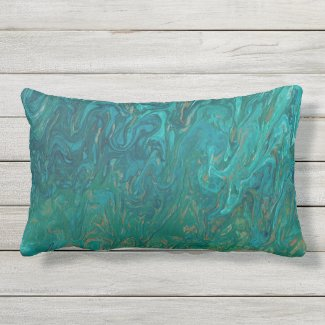 Teal Liquid Color Flow Lumbar Pillow