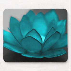 Teal Lotus Mouse Pad