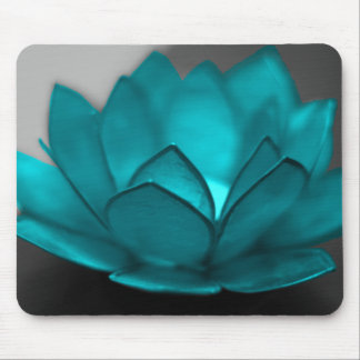 Teal Lotus Mouse Pad