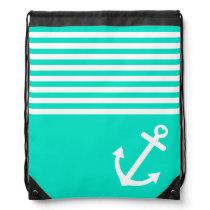 Teal Love Anchor Nautical Drawstring Backpack