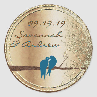 Teal Love Bird Gold Wedding Seal Classic Round Sticker