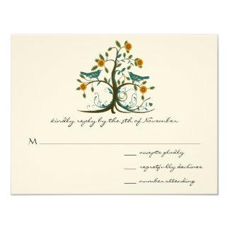 Teal Love Birds Coral Blooming Tree Wedding RSVP Card