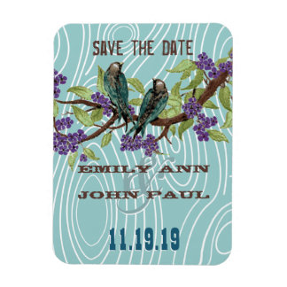 Teal Love Birds Purple Cherry Blossoms Magnet