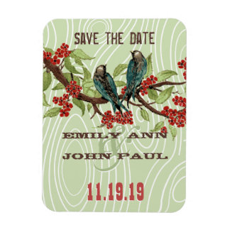 Teal Love Birds RED Cherry Blossoms Magnets