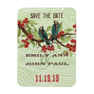 Teal Love Birds RED Cherry Blossoms Rectangular Magnets
