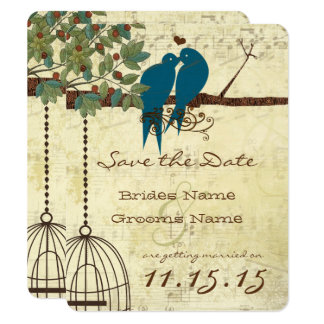 Teal Love Birds Sitting In a Tree Save the Date Card