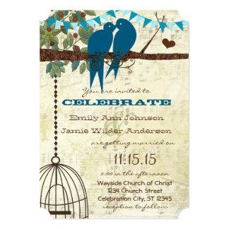 Teal Love Birds Sitting In a Tree Wedding Invite