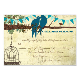 Teal Love Birds Sitting In a Tree Wedding RSVP Card