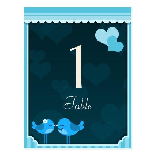 Teal Love Birds Table Cards set 1 Postcard