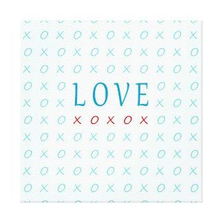 Teal Love Hugs & Kisses Elegant Design Gallery Wrap Canvas