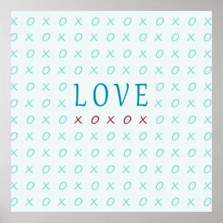 Teal Love Hugs & Kisses Elegant Design Posters