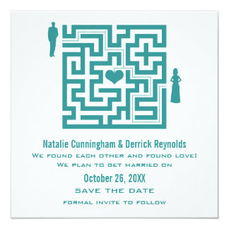Teal Love Maze Save the Date Invite