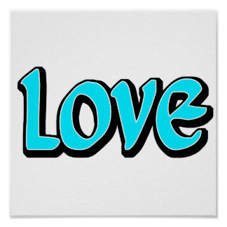 Teal Love Poster